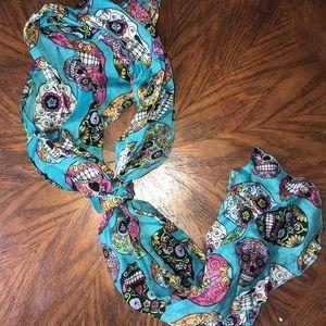 Sugar skull scarf. Blue